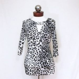 CACHE keyhole animal print ruched wrap top S